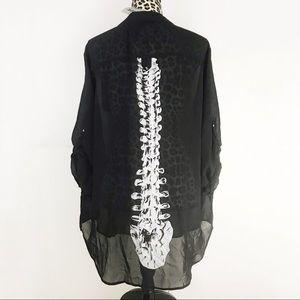 NWT Iron Fist Skeleton Spineless Chiffon Blouse